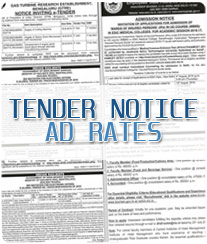 Tender Notice Ad Rates