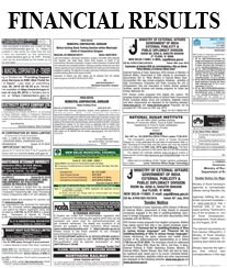 Times Financial Results Advertisement