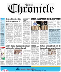Central Chronicle Display Ad Rate Card Raipur