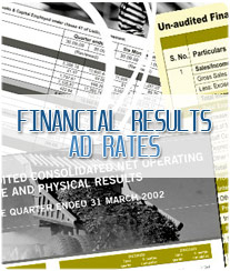 Financial Results Ad Booking New Delhi