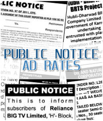 Public Notice Ad Booking Hubli