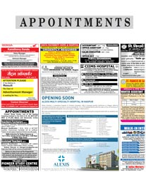 The Hitavada Appointments Ad Rates Bhopal