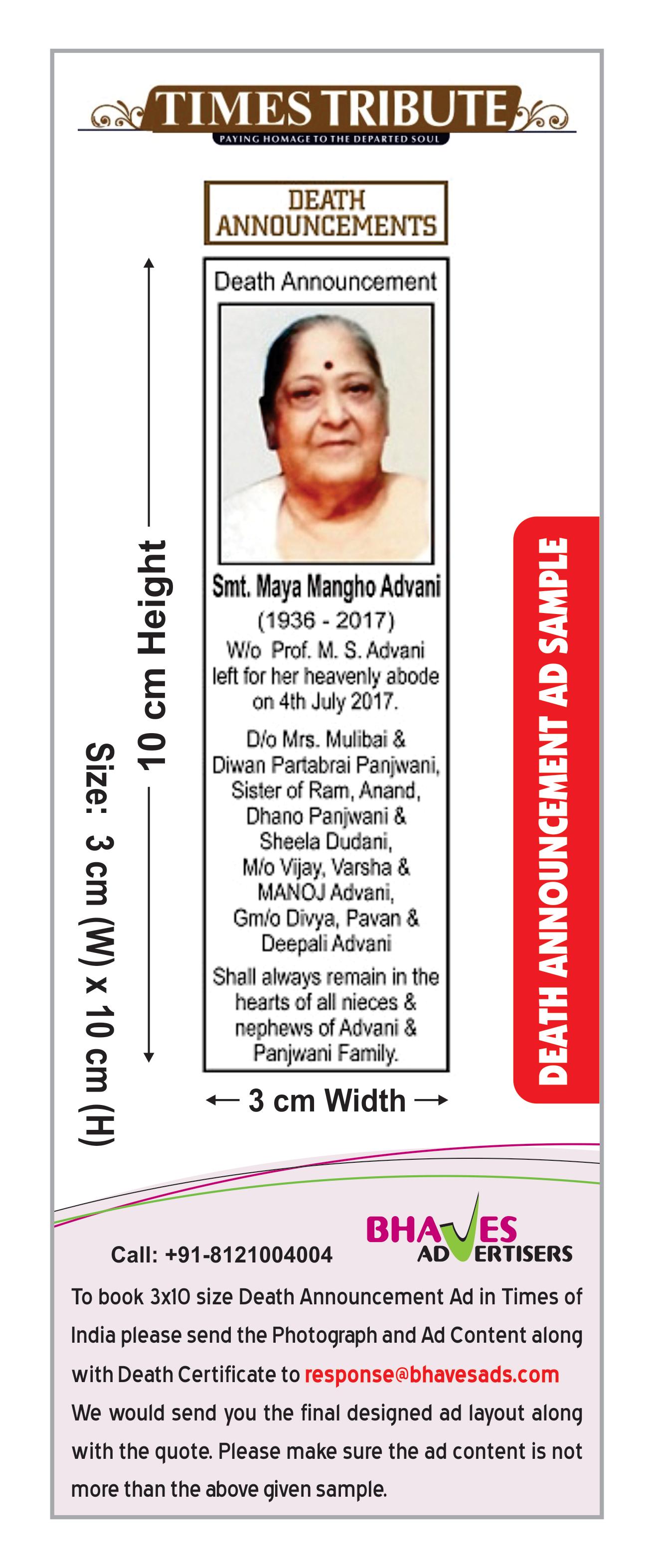 obituary ad rates for times of india newspaper  obituary