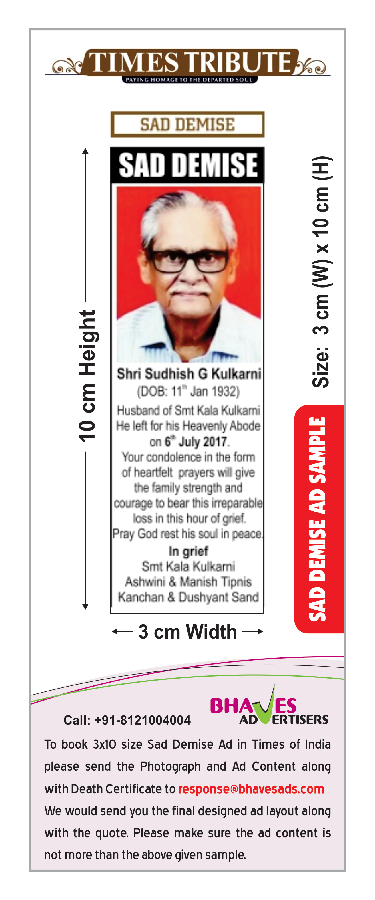Times of India Obituary Ad Rate Card for Mumbai Newspaper