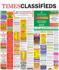 Times Classifieds Advertisement Rate Card